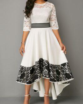 Asymmetric Hem Lace Panel Dress