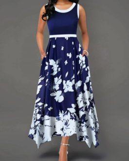 Asymmetric Hem Printed Contrast Piping Dress