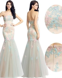 Beautiful Lace Appliques Trumpet Evening Dress Long Prom Party Gowns