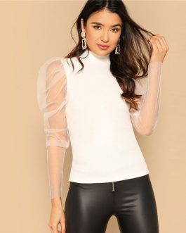 Beige High Collar Contrast Mesh Insert Puff Sleeve Slim Solid Pullovers T shirt