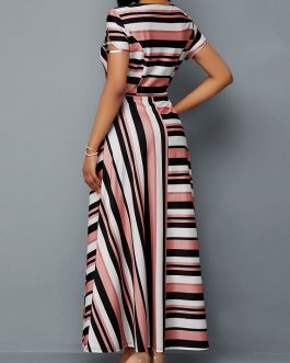 Belted Cutout Sleeve Stripe Print Dress
