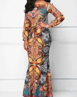 Belted Printed Long Sleeve Mermaid Dress