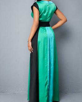 Belted V Neck Color Block Maxi Dress