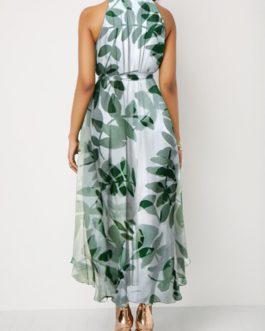 Bib Neck Sleeveless Leaf Print Chiffon Dress