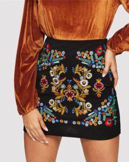 Black Botanical Embroidered Textured Skirt