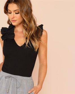 Black Elegant Sexy Ruffle Trim Sleeveless Rib Knit V Neck T-shirt