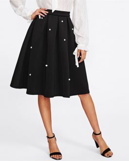 Black Vintage Pearl Embellished Boxed Pleated Circle Knee Length Mid Waist Skirt