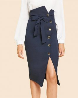 Blue Elegant Slit Hem Mid Waist Belted Solid Sheath Skirt