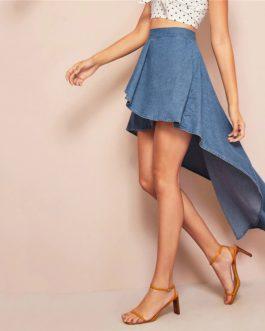Blue Wide Band Waist Wrap Dip Hem Denim Casual Long Skirt