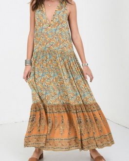 Bohemian Maxi Print Floral Sleeveless Button Dress