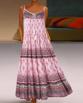 Bohemian Print Sleeveless Overhead Straps Maxi Dress
