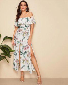 Boho Floral Print Sexy Off Shoulder Beach Maxi Dress