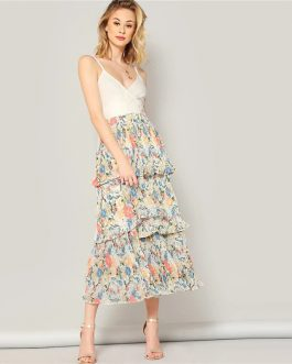 Boho Multicolor Elastic Waist Floral Layered Pleated Ruffle Skirt