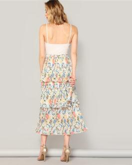 Boho Multicolor Elastic Waist Floral Layered Pleated Ruffle Skirt