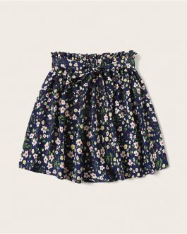 Boho Ditsy Floral Print Paperbag Waist Belted Flared Skirts