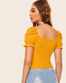 Bright Ginger Boho Sweetheart Neck Knot Front Fitted Crop Top