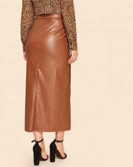 Brown Elegant Split Hem Front Double Button Belted Leather Look Long Skirt