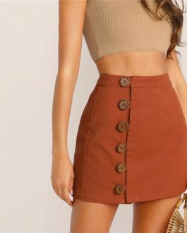 Brown High Waist A Line Women Mini Skirt