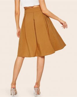 Buckle Belted Pleated Vintage High Waist Flared Women Skirt