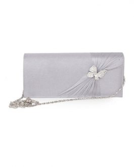 Butterfly Ruched Wedding Silk Clutch Bag