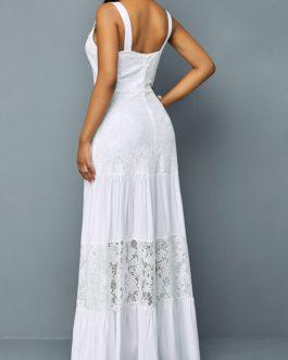 Button Detail Ruffle Hem Lace Patchwork Dress