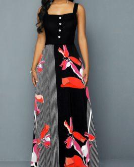 Button Detail Spaghetti Strap Stripe Print Dress