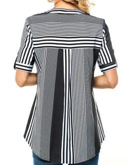Button Up Chest Pocket Stripe Print Shirt