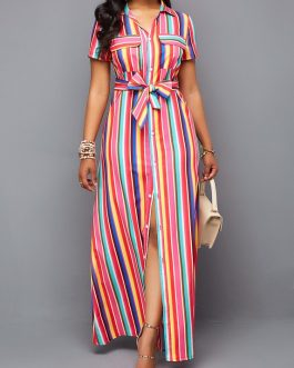 Button Up Turndown Collar Belted Maxi Dress