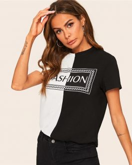 Casual Two Tone Letter Print Short Sleeve T Shirt