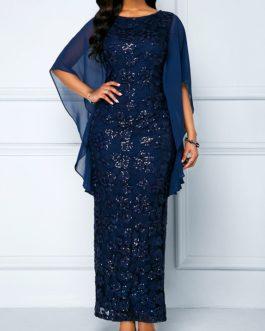 Chiffon Panel Navy Sequin Embellished Lace Maxi Dress