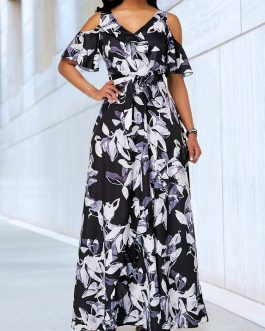 Cold Shoulder Flower Print Bowknot Belt Dress