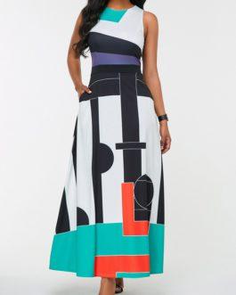 Color Block Sleeveless Geometric Print Pocket Dress