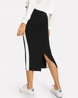 Colorblock Contrast Sideseam Split Back Pencil Elegant Mid Waist Skirt