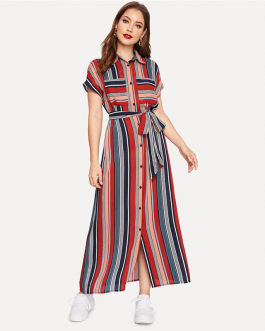 Colorful Striped Belted Button Short Sleeve Pocket Shirt Dress