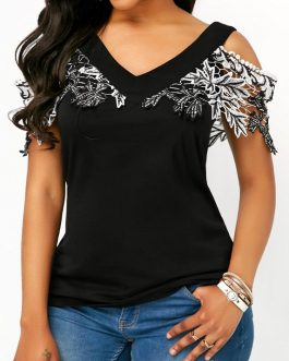 Crochet Detail Cold Shoulder V Neck Blouse