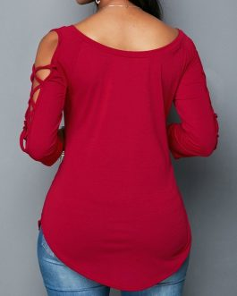 Curved Lace Up Sleeve Wine Red Blouse