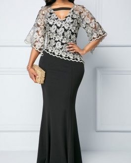 Cutout Front Lace Panel Maxi Dress