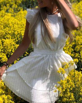 Elastic waist ruffled sleeve party dress