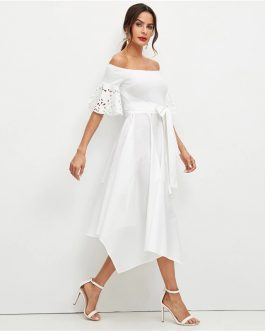 Elegant Laser Cut Sleeve Off the Shoulder Party Midi Dress