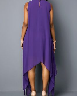 Embellished Neck Asymmetric Hem Sleeveless Tunic Dress