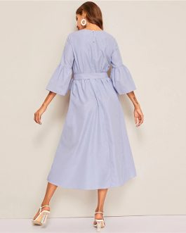 Embroidered Flounce Sleeve Belted Boho Striped Ruffle Dress
