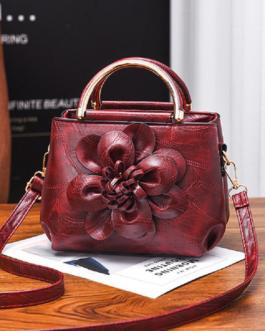 Faux Leather Flower Designer Handbag Shoulder Bag For Women