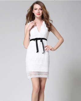 Female Lace short sexy Casual  V-Neck Pencil dress