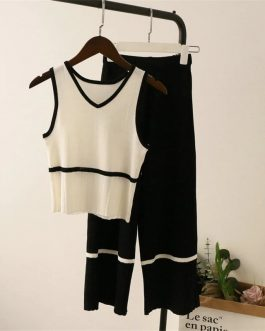 Female knitted casual camisoles pants suit casual elastic knit set