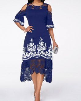 Flare Cuff Cold Shoulder Tribal Print Dress