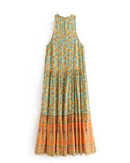 Floral print sleeveless beach Bohemian Spaghetti Strap maxi dress