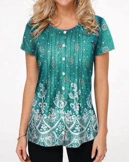 Flower Print Button Front Round Neck Blouse