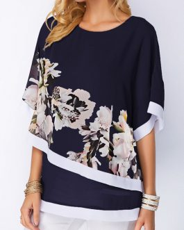 Flower Print Round Neck Overlay Embellished Blouse