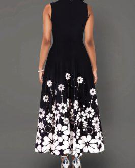 Flower Print Round Neck Sleeveless Maxi Dress