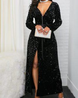 Front Slit Long Sleeve Belted Sequin Dress